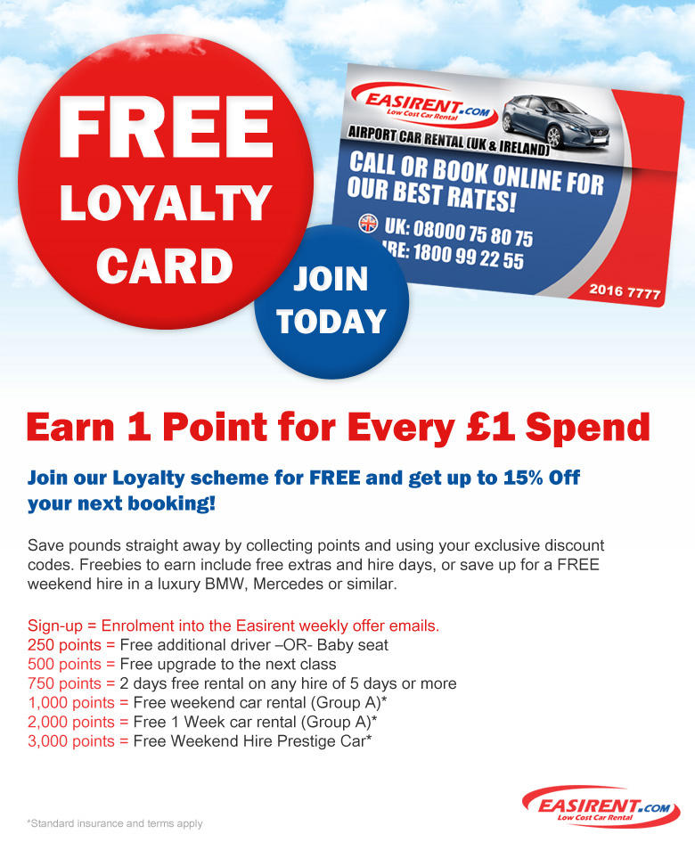 Easirent Car Hire Loyalty Card